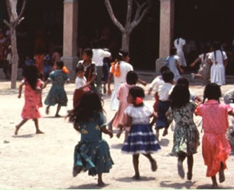 Zapotec of La Paz school children playing during recess. D. P. Fry photo collection