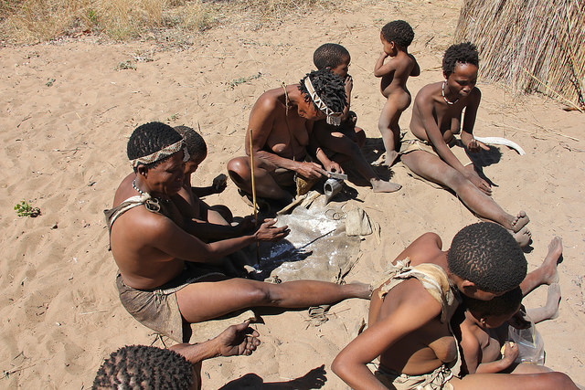 Women doing craft work at a San village in the Nyae Nyae Conservancy