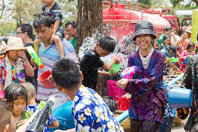 Songkran celebrations on the streets of Ayutthaya, a small city north of Bangkok