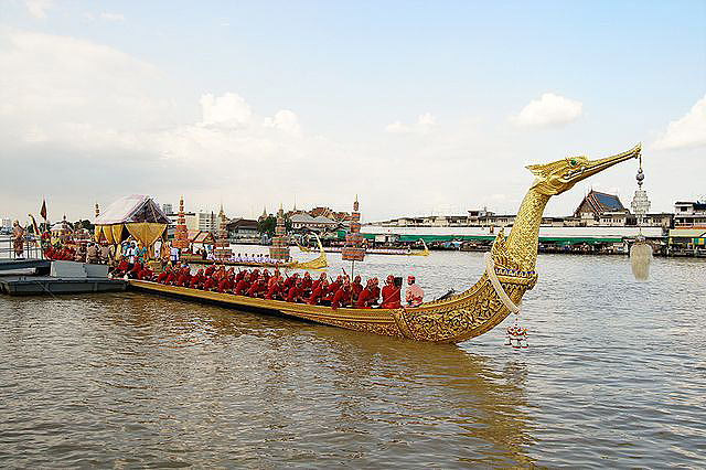 The Royal Barge Suphannahong prepared for a ceremony