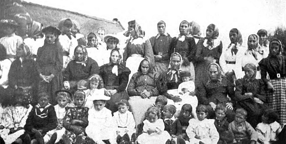 A picture of Tristan women and children published in 1910 in Katherine M. Barrow's, Three Years in Tristan da Cunha