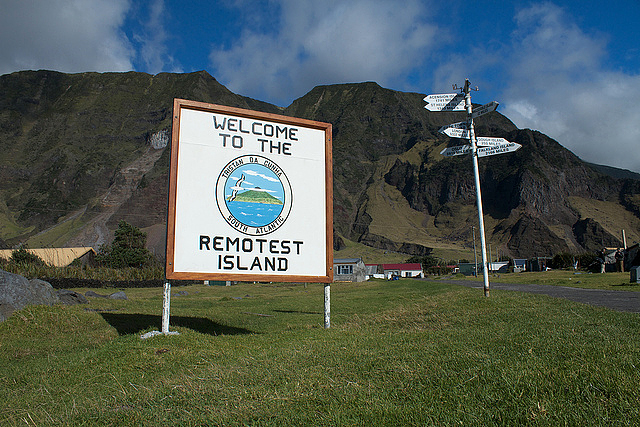 A sign posted in the Settlement of Tristan da Cunha