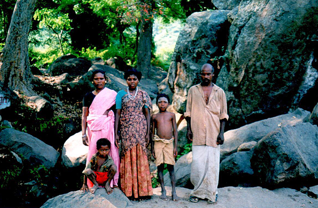 A Paliyan family near a Murugan Temple in the Theni District of Tamil Nadu