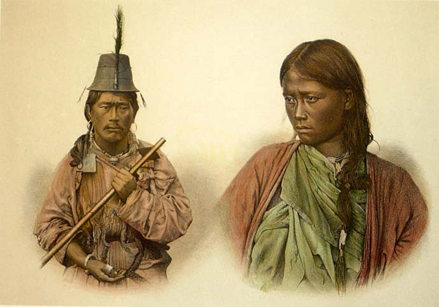 A Lepcha man and woman shown in an 1872 engraving
