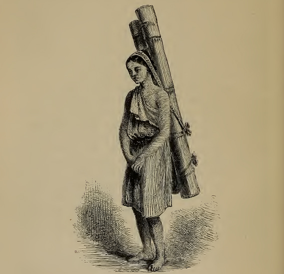 A Lepcha woman in this old woodcut shown carrying water gives an impression of rather drab traditional dress