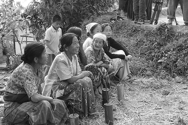 The contemporary dress of many Lepcha women has little relationship to their traditional designs, though the nature of their flowing skirts are evident in this image