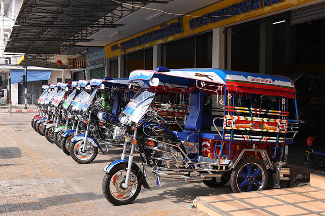 New tuk-tuks in Nong Khai help transport the villagers throughout the Isan region