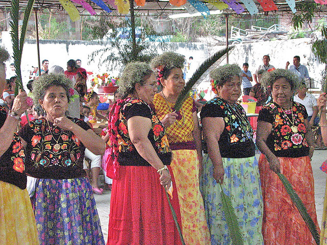 Some Zapotec women of Tehuantepec assemble for a palm dance