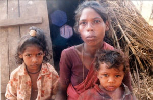 A Paliyan woman with her kids in the Sirumalai Hills of Tamil Nadu