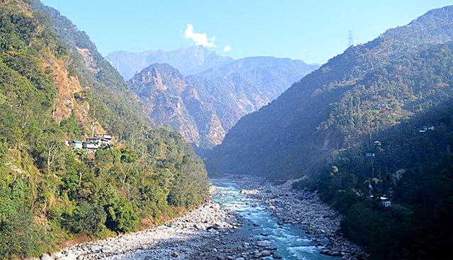 The Teesta River flowing through Sikkim
