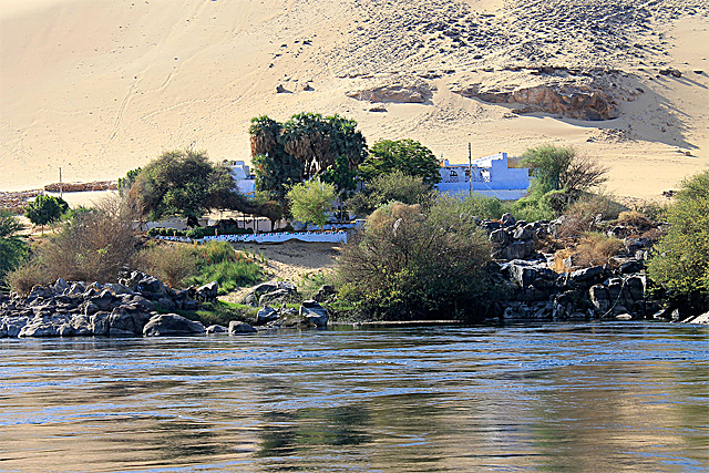 Some Nubian houses along the River Nile near Aswan, traditional Nubian territory