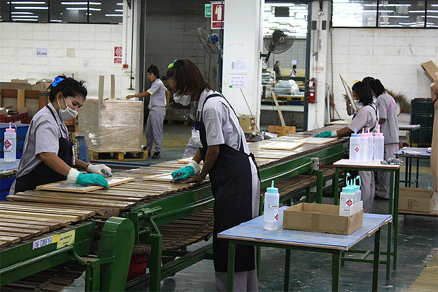 Thai women working in a typical factory