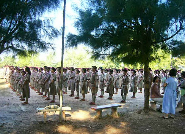 Thai pupils in scouting clothing gathering at the Na Wa High School, Nakhon Phanom province of Isaan