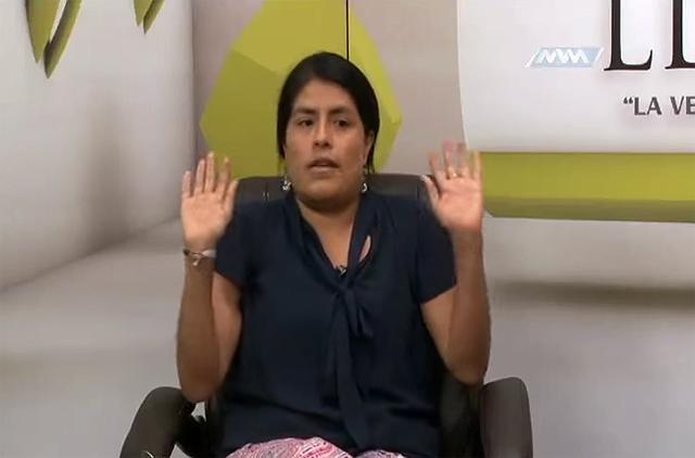 Eufrosina Cruz Mendoza in a television program
