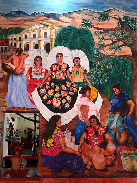 A mural of Zapotec women and their indigenous clothing, in the Scaru Bar-Restaurant in Tehuantepec, Isthmus Region, Oaxaca (Photo by Adam Jones on Flickr, Creative Commons license)