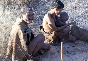 A San family in the bush in the Ghanzi District (Photo by Petr Kosina in Flickr, Creative Commons license)