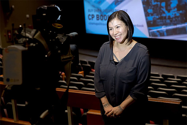 Alethea Arnaquq-Baril being interviewed by the media (Photo by Cinema Politica in Wikimedia, Creative Commons license)