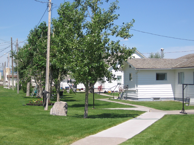Apartments characteristic of a Hutterite colony (Photo taken at the Pincher Creek Colony in Alberta by Bruce Bonta on July 5, 2006)