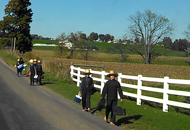 """Swartzentruber children walking along a country road (Screenshot from the video """"Swartzentruber vs old order houses,"""" by Joseph Slabaugh on YouTube, Creative Commons license)"""
