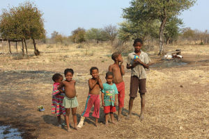 Some Ju/'hoansi kids in the Makuri Village, Nyae Nyae Conservancy (Photo by Gil Eilam was formerly on Flickr with a Creative Commons license)
