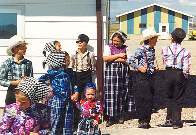 A group of boys and girls at the Milford Hutterite Colony in Montana