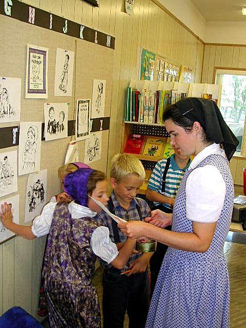 Students in a Hutterite colony school