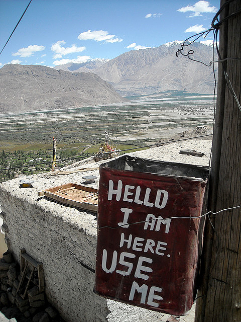 A public trash can is one way to collect garbage in Ladakh—and appease the gods