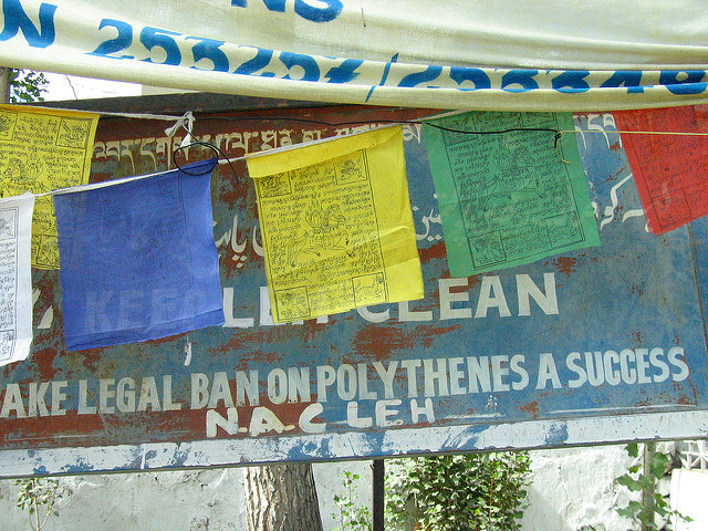 """A sign posted in Leh, Ladakh, that states """"Keep Leh Clean: Make legal ban on polythenes a success"""""""