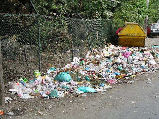 Trash, especially polythene bags, piled up in Srinagar, Kashmir