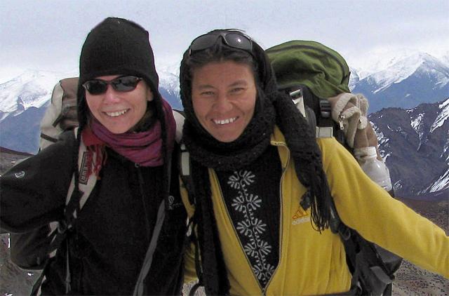 Thinlas Chorol on the right on a trek in Ladakh