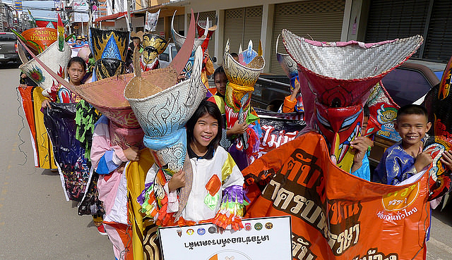 The Phi Ta Khon, the ghost mask parade in Loei Province of Thailand