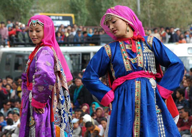 Folk dancers performing at a festival in Leh, Ladakh, September 2008