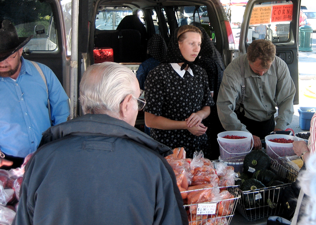 Hutterites at a farmers market in Saskatchewan