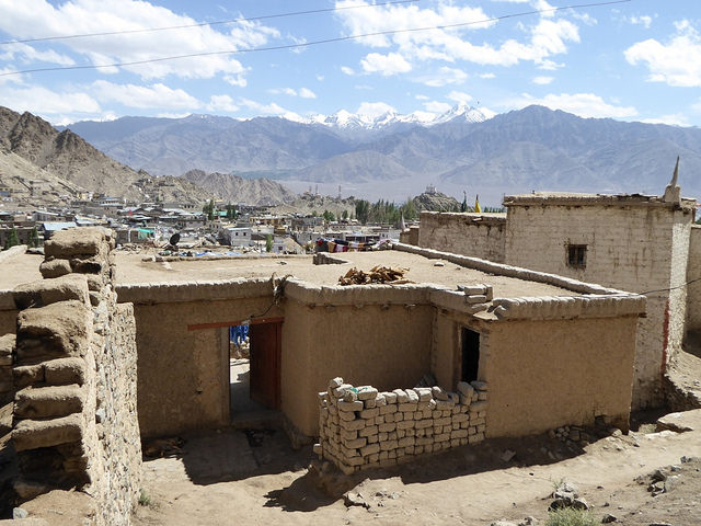A house in Ladakh made out of mud bricks