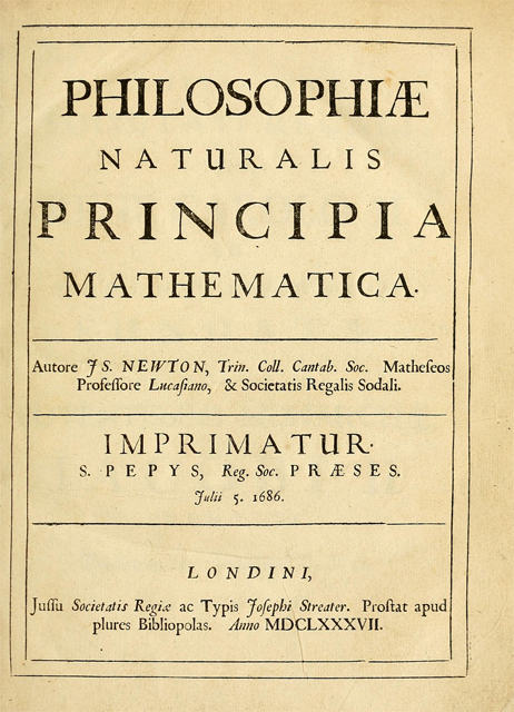The title page of Isaac Newton's Principia Mathematica, first edition of 1687