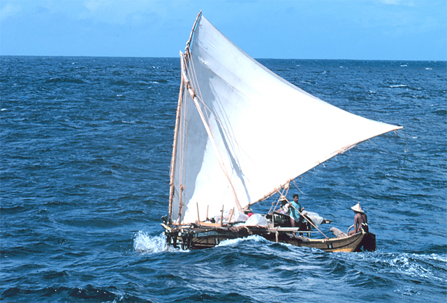 """A sailing outrigger boat called a """"proa"""" in Micronesia"""