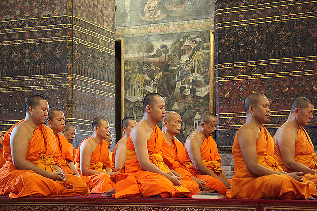 Some of the monks are noticeably overweight at the Temple of the Reclining Buddha in Bangkok
