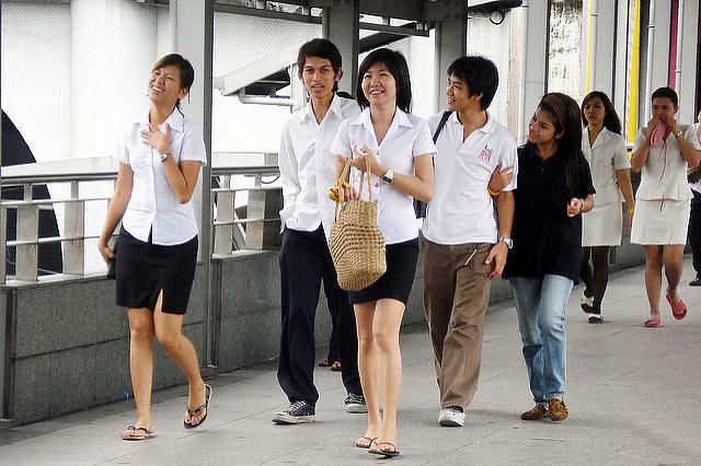 Kasetsart University students at a Bangkok mall