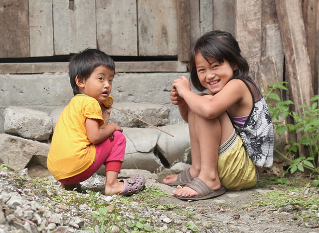 Children playing in a Lepcha village