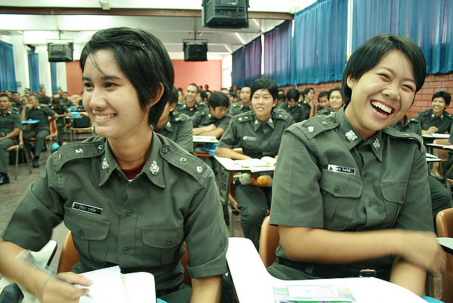 A training session for police cadets in Thailand for ending violence against women and girls
