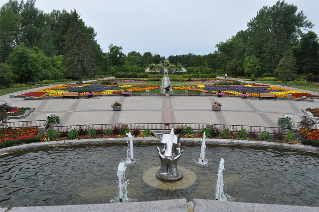 Fountains and flower beds at the International Peace Garden