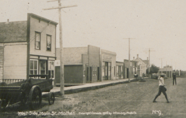 The Main Street of Mather, Manitoba, in 1908