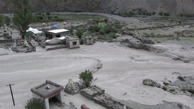 The village of Skyu, Ladakh, during the flood of 2010