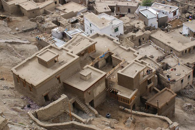 The traditional clay-covered roofs in old Leh