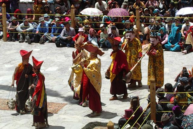 Tourists watching a Hemis Monastery festival near Leh