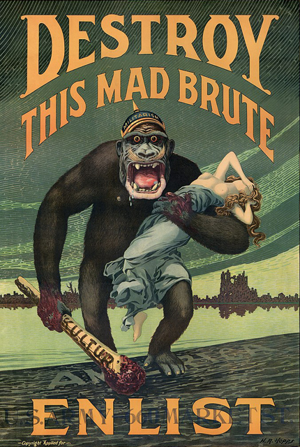A propaganda war poster designed to foster popular support in the U.S. for fighting in World War 1