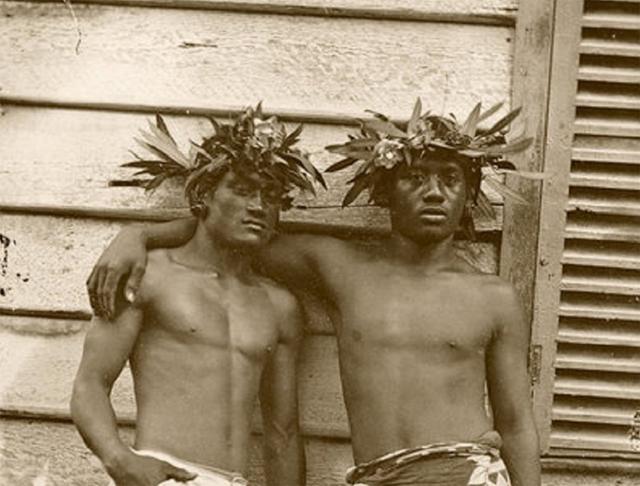 Two Tahitian men circa 1870
