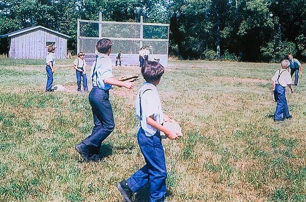 Amish children playing baseball, Lyndonville, New York