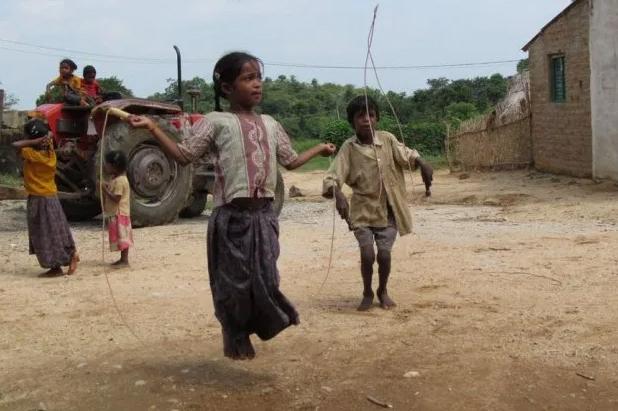 Probably Yanadi children skipping ropes