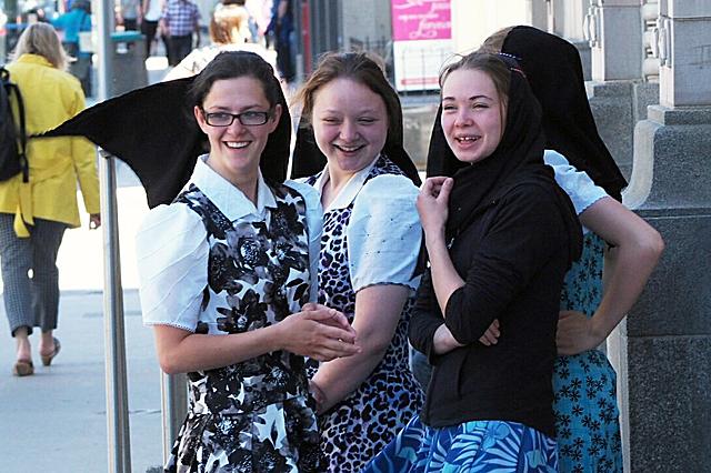 Young Hutterite women hanging out on a Winnipeg street